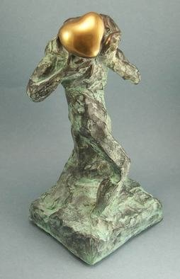 Paul Orzech; The Golden Gift, 2010, Original Sculpture Bronze, 4.2 x 9.2 inches. Artwork description: 241  The Golden Gift - There is no gift more pure than that of the heart.  ...