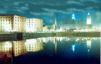 Paul Woods; Albert At Night, 1990, Original Photography Color, 10 x 8 inches. Artwork description: 241 An image taken of the Albert Dock at night 1990...