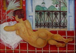 Pavel Tyryshkin; At The Balcony, 2005, Original Painting Oil, 130 x 96 inches.