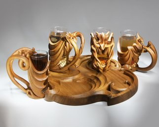 Pavel Sorokin; Elverd, A Beer Glass Set ..., 2011, Original Woodworking, 45 x 45 cm. Artwork description: 241  wood, wooden, exotic, carving, art- nouveau, modern, fantasy, dragons, monsters, carved, tropical, interior, decoration, decorative, home, hand- work, single item, hand- made, gift, premium, brown, yellow, warm, beer, glass, cristall, author' s collection, furnishings ...