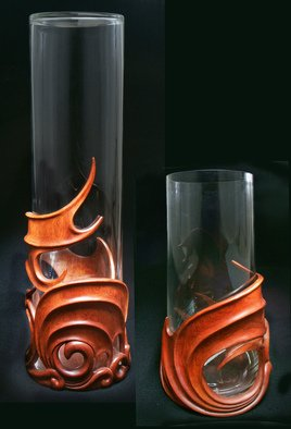 Pavel Sorokin; Pair Of Interior Vases Am..., 2011, Original Woodworking, 18 x 63 cm. Artwork description: 241 wood, wooden, exotic, carving, art- nouveau, modern, fantasy, dragons, wings, carved, tropical, interior, decoration, vase, flowers, decorative, home, hand- work, single item, hand- made, gift, premium, brown, yellow, glass, cristall, authors collection, furnishings...