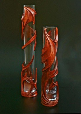 Pavel Sorokin; Pair Of Interior Vases Ma..., 2011, Original Woodworking, 5 x 45 cm. Artwork description: 241  wood, wooden, exotic, carving, art- nouveau, modern, fantasy, dragons, wings, carved, tropical, interior, decoration, vase, flowers, decorative, home, hand- work, single item, hand- made, gift, premium, brown, glass, cristall, authors collection, furnishings...