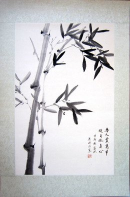 Pavel Sorokin; bamboo branch, 2016, Original Drawing Ink, 58 x 88 inches. Artwork description: 241 art ink painting, laminated to natural silk base Chinese style, rice paper, floral, interior, decoration, original, ...