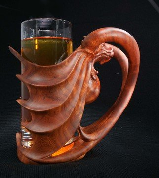 Pavel Sorokin; beer glass with wooden holder, 2014, Original Crafts, 15 x 19 cm. Artwork description: 241 Beer mug with breathable glass have a holder with dragon or lion head, carved of tropical rose wood. Single item...