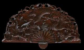 Pavel Sorokin; dinh carved wooden panno, 2015, Original Woodworking, 100 x 40 cm. Artwork description: 241  Dragons decorative fan- looking wall panel was made by famous Vietnamese carpenter. Carving is extremely delicate, based on my sketches and models. Dark rose- wood used for this panel is unique and rarely exists in the World. ...
