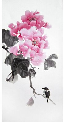 Pavel Sorokin; peony with bird, 2017, Original Drawing Ink, 33 x 44 inches. Artwork description: 241 art ink painting, shui- mo , peony flower, bird, Chinese style, rice paper, floral, interior, decoration, original, precisely detailed, highly coloured...