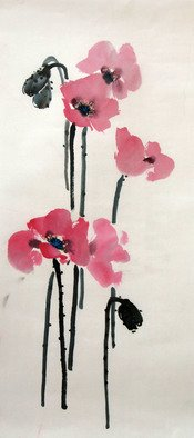 Pavel Sorokin; poppy, 2017, Original Drawing Ink, 30 x 62 inches. Artwork description: 241 art ink painting, shui- mo , poppy flower, Chinese style, rice paper, floral, interior, decoration, original, precisely detailed, highly coloured...