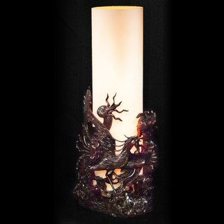 Pavel Sorokin; table lamp carved rose wood, 2014, Original Furniture, 25 x 50 cm. Artwork description: 241 wooden interior lantern made of carved dark tinted rose wood. Matt glass,  dimmer, ...