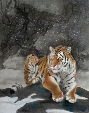Pavel Sorokin; tiger of the winter, 2017, Original Painting Ink, 60 x 80 cm. Artwork description: 241 art ink painting, Gongbi , animal, tiger, laminated to natural silk base Chinese style, rice paper, floral, interior, decoration, original, precisely detailed, highly coloured...
