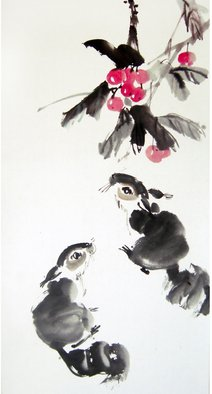 Pavel Sorokin; two squirrels, 2015, Original Drawing Ink, 35 x 68 cm. Artwork description: 241 art ink painting, shui- mo , squirrels, trees, Chinese style, rice paper, floral, interior, decoration, original, precisely detailed, ...