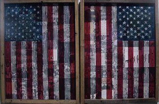 Pedro Martin De Clet; A Review Of Americas Old ..., 2001, Original Collage, 8 x 5 feet. Artwork description: 241  Mixed- Media collage on plexi- glass X 2 panels. . . ...