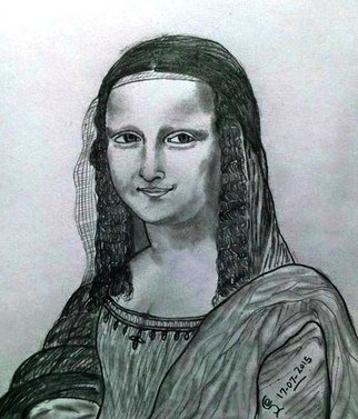 Jambulingam Elangovan; Monalisa, 2015, Original Drawing Pencil, 210 x 297 mm. Artwork description: 241