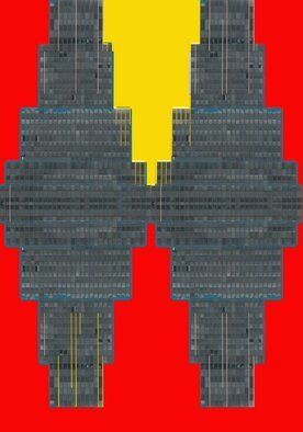 Peter C. Brandt; Flying Office In Color, 2010, Original Photography Other,   inches. Artwork description: 241   red and yellow, abstract, architectural, photography, New York City, NY, 6th Avenue office building, mirrored, butterflied, (c)2012PeterC. Brandt  ...