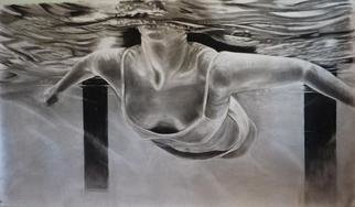 Peter Illig; Submersion, 2012, Original Drawing Charcoal, 72 x 42 inches.