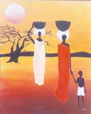 Peter Odeh; DAUGHTERS OF AFRICA, 2008, Original Painting Acrylic, 31.5 x 39.5 inches. Artwork description: 241  Daughters of Africa is a painting which tells us about the daily struggles of the African woman, as she rises at dawn to undertake her daily chores until dusk when she goes to sleep. It is a painting dedicated to all mothers as the strive to contribute ...