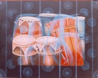 Peter Odeh; DRUMS OF PROPHECY, 2008, Original Painting Acrylic, 39.5 x 31.5 inches. Artwork description: 241  Drums of prophecy is a collection of African drums known as talking drums. These drums are used to disseminate information simply by beating without actually saying a word. These drums are beating st special occasions and festivals.  ...