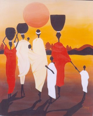 Peter Odeh; GOING HOME, 2008, Original Painting Acrylic, 41.5 x 51.5 inches. Artwork description: 241  This painting[ going home] , depicts the commercial activities of the African family, as they go to the market to trade, and asthey return home after the day's sales.      ...