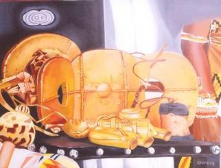 Peter Odeh; THE GOLDEN STOOL, 2010, Original Painting Acrylic, 43 x 33 inches. Artwork description: 241  The golden stool is the throne and royal sit of the Ancient Ashanti empire in Ghana. The stool  is believed to have been conjured from the sky by an Ancient Ashanti king. The golden stool is brought out only during the Akwasidae festival for purification, the much ...