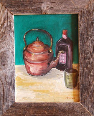 James Emerson; Copper Tea Pot, 2010, Original Painting Oil, 9 x 12 inches. Artwork description: 241  still life teapot of copper, liquor and cup on country table              Fisher folk facing the weather off the Grand Banks fishing ground off the Canadian and Maine coast.   ...