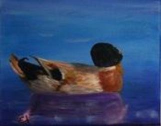 James Emerson; Duck At Rest, 2012, Original Painting Oil, 8 x 10 inches. Artwork description: 241  Mallard duck at rest on a calm Maine pond    ...