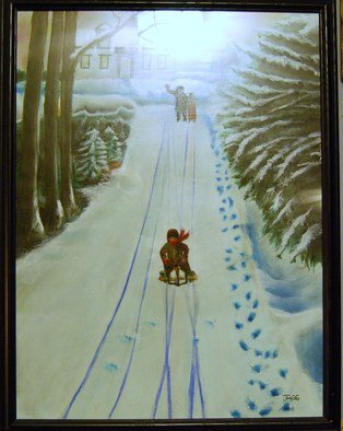 James Emerson; Farewell To Youth, 2000, Original Painting Oil, 18 x 24 inches. Artwork description: 241  Children enjoying the winter snow, last fling of youth.       ...