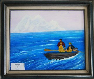James Emerson; Iceberg Alert, 2011, Original Painting Oil, 16 x 20 inches. Artwork description: 241  Spotting trouble before it is              Fisher folk facing the weather off the Grand Banks fishing ground off the Canadian and Maine coast.  ...