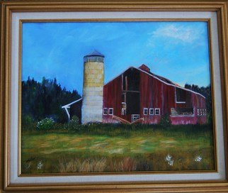 James Emerson; Old Farm With Red Barn, 2009, Original Painting Oil, 18 x 24 inches. Artwork description: 241  American farm, dilapidated with silo and red barn        ...