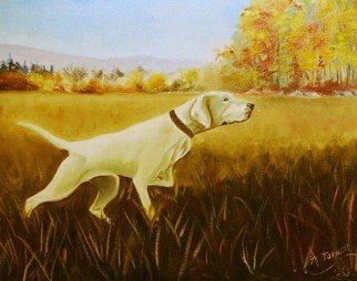 James Emerson; On Point, 1980, Original Painting Oil, 16 x 20 inches. Artwork description: 241  Bird dog on point, autumn      ...