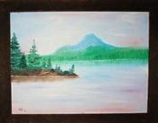 James Emerson; Pastel Mountain, 2012, Original Painting Oil, 18 x 24 inches. Artwork description: 241  Perfect day at the lake, mid summer     ...