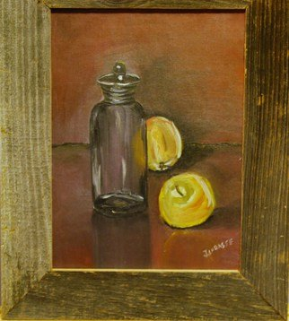 James Emerson; Still Life With Apples, 2000, Original Painting Oil, 9 x 12 inches. Artwork description: 241  Glass jar with winter apples on table    ...