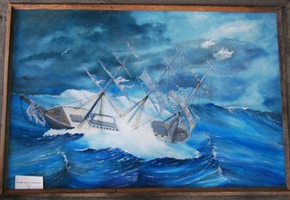 James Emerson; Trouble On The Grand Banks, 2011, Original Painting Oil, 18 x 24 inches. Artwork description: 241   The surfers wagon, the woody              Fisher folk facing the weather off the Grand Banks fishing ground off the Canadian and Maine coast. ...