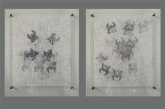 Meredith Cutler; Stage 1 And 2, 2000, Original Printmaking Other, 18 x 21 inches. Artwork description: 241 This diptych is made with hand- printed inks on vellum and rayon thread in hand- made plexiglas frames with stainless steel hardware.  Each panel contains up to 5 layers of prints, giving a hazy depth to the imagry.  The imagry relates to an ongoing series I am ...