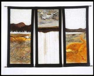 Meredith Cutler; Yellowstone Triptych, 1998, Original Mixed Media, 6 x 4 feet. Artwork description: 241 Commissioned by Karen and Robert Ginsberg, Santa Monica, CA.  I based this mixed- media triptych on a series of photographs I took at Yellowstone National Park in the summer of 1996.  Each panel is based directly on a photograph of the amazing landscape there.  I wanted to ...