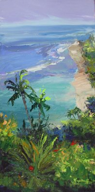 Pat Heydlauff; Beach View From Above, 2011, Original Painting Acrylic, 12 x 24 inches. Artwork description: 241  On the way to visit the volcano in Maui, the beach below is irresistible.      ...