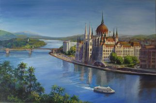 Pat Heydlauff; Budapests Blue Danube, 2011, Original Painting Acrylic, 30 x 20 inches. Artwork description: 241   The Blue Danube is recognized for its beauty and trade route significance as the majestic Parliament Building in Budapest welcomes her with open arms.       ...