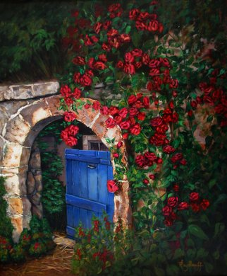 Pat Heydlauff; Garden Gate, 2011, Original Painting Acrylic, 20 x 24 inches. Artwork description: 241   A bit mysterious but a lot welcoming - step through the garden gate to see what joy lies beyond.  ...