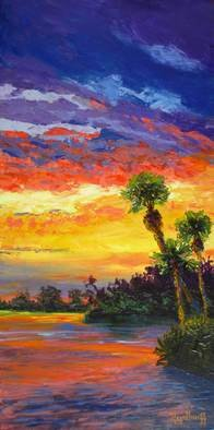 Pat Heydlauff; Sunset Afterglow, 2011, Original Painting Acrylic, 12 x 24 inches. Artwork description: 241   When the sun sets over Florida's inter- costal waterways or the ocean just beyond, the sky and the water glows.     ...