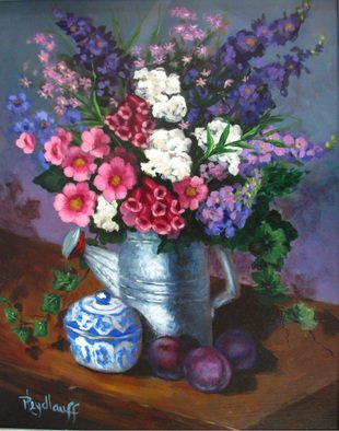 Pat Heydlauff; Watering Can, 2011, Original Painting Acrylic, 16 x 20 inches. Artwork description: 241   There is nothing like a fresh bouquet of flowers picked in the garden and casually arranged in your favorite old galvanized sprinkling can. They just go together.   ...