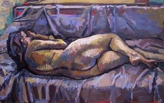 Philip Hale; Reclining Nude, 2010, Original Painting Oil, 32 x 20 inches. Artwork description: 241      contemporary painting/ post- abstract figuration/ representational art     ...
