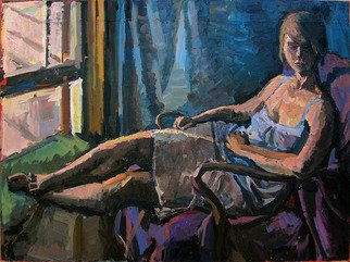 Philip Hale; Woman in Window Light, 2010, Original Painting Oil, 32 x 25 inches. Artwork description: 241       contemporary painting/ post- abstract figuration/ representational art      ...