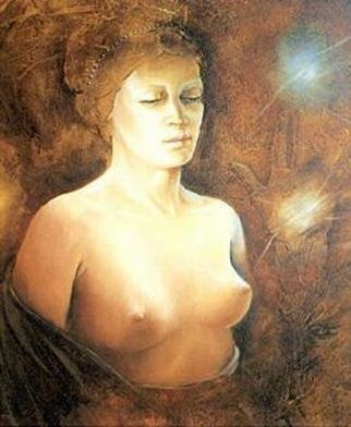 Philip Hallawell, 'Aphrodite', 1984, original Painting Oil, 50 x 60  cm. Artwork description: 2793 Part of the Iliad series, this is a depiction of Aphrodite. It was painted in oils on canvas over wood and is part of the Iolanda Jendirobba Teixeira collection. ...