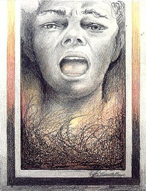Philip Hallawell, 'Realm Of Fear 5', 1980, original Mixed Media, 18 x 25  cm. Artwork description: 2793 This drawing was done with graphite pencils and oil pastels. It is an extension of the Realm of Fear series, but concentrates on the fear itself. The drawing is featured in my book