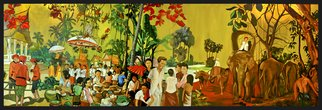 Jean Dominique  Martin; Laos Life, 2005, Original Digital Painting, 80 x 30 cm. Artwork description: 241 Painting on canvas Laos Life...