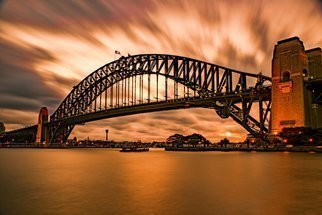 Jean Dominique  Martin; Sydney Sunset Bridge, 2020, Original Photography Digital, 60 x 40 cm. Artwork description: 241 Sumner under fire NSW ...
