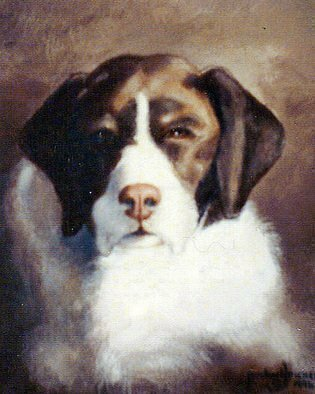 Michael Pickett, 'Brown And White Dog', 1996, original Painting Acrylic, 11 x 14  x 1 inches. Artwork description: 4287  Commissioned ...