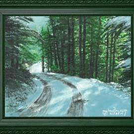 Michael Pickett, , , Original Painting Acrylic, size_width{Country_Road_Snow_Scene_-1392539010.jpg} X 8 inches