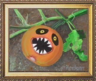 Michael Pickett; Evil Pumpkin, 2015, Original Painting Acrylic, 10 x 8 inches. Artwork description: 241  You can learn how to paint an Evil Pumpkin in acrylic,Go to pickettonline. com, click on ENTER, and on the top left corner click the You- Tube link.   ...