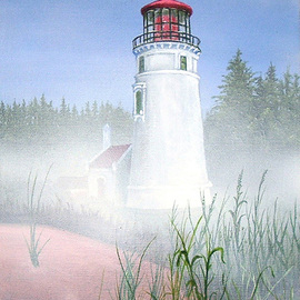 Michael Pickett, , , Original Painting Acrylic, size_width{Oregon_Lighthouse-1202087149.jpg} X 12 inches