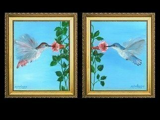 Michael Pickett, 'Set Of Humming Birds ', 2012, original Painting Acrylic, 8 x 10  x 0.5 inches. Artwork description: 1911  Two 8x10 humming birds as a set. ...