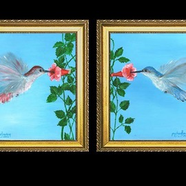 Michael Pickett, , , Original Painting Acrylic, size_width{Set_of_Humming_Birds_-1348011288.jpg} X 10 inches